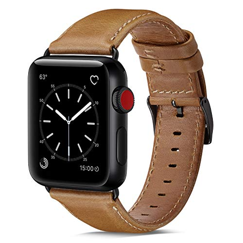 OUHENG Compatible with Apple Watch Band 42mm 44mm, Genuine Leather Band Replacement Compatible with Apple Watch Series 4 Series 3 Series 2 Series 1 (42mm 44mm) Sport and Edition, Light Brown Band