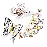 mini fridge wood cover - 12 pcs Magnet Butterfly Sticker Fridge Door Decor, Yeefant DIY 3D Double Layer Colorful Refrigerator Wall Stickers Home Room Decor,White