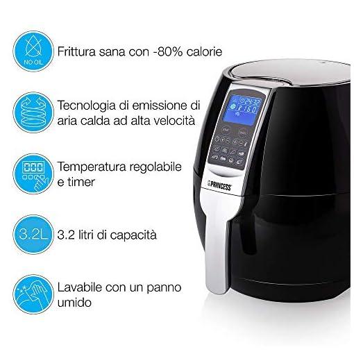 Princess Friggitrice ad Aria Calda XL182020, 1500 W, 3.2 Litri, Plastica-BPA Free, Nero/Argento