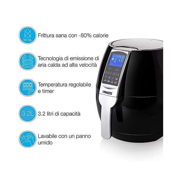 Princess Friggitrice ad Aria Calda XL 182020, 1500 W, 3.2 Litri, Plastica-BPA Free, Nero/Argento 3