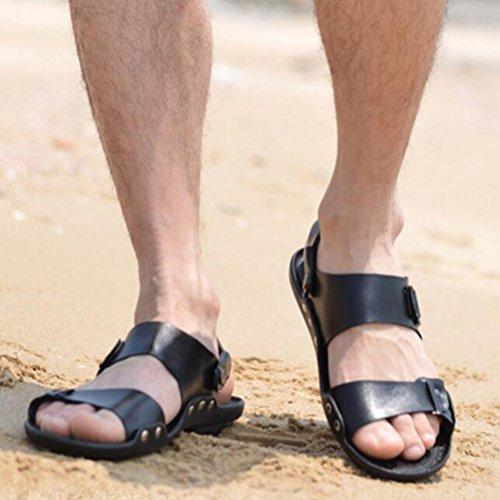Stile Sandal Mallimoda Pelle 2 Estate nero Casual Infradito Uomo Spiaggia Scarpe 8q8CxrEfn