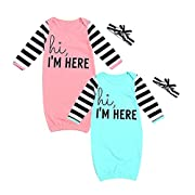 NWAD 2 Pack Baby Girl Nightgowns Cotton Baby Boy Night Gowns Neutral Clothes Sleepwear Robes (I am here, 0-6 Months)