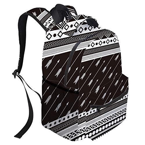 T&H Home Large Backpack, Aztec Arrow American Vintage Style Casual Daypack Backpacks,Laptop, Padded, Adjustable Backpack Straps, Zip Closure