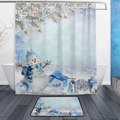 ALAZA Set of 2 Winter Snowflake 60 X 72 Inches Shower Curtain and Mat Set, Christmas Snowman Pine Tree Branches Gifts Waterproof Fabric Bathroom Curtain and Rug Set with Hooks]()