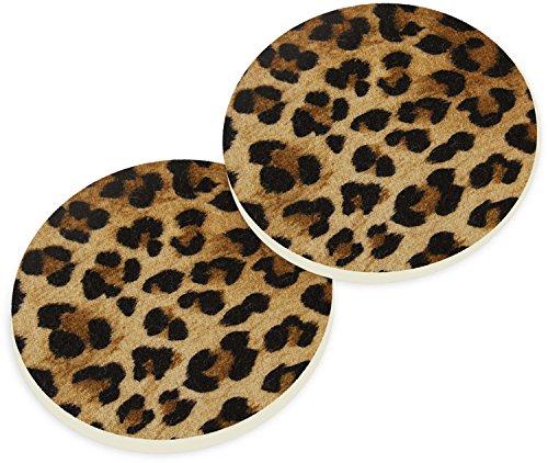(Animal Leopard Print 2 Piece Ceramic Car Coaster Set)