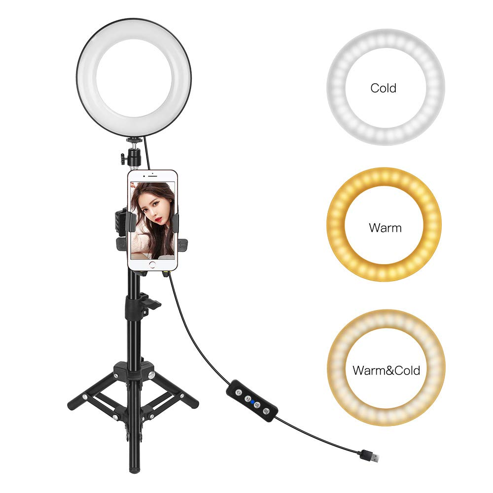 Selfie Light, 6'' Ring Light with Tripod Stand and Cell Phone Holder Desktop LED Lamp Mini Camera Light for Live Stream Makeup You Tube Live Steaming Portrait Photography by ZoMei