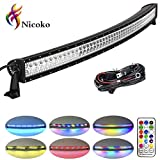 10 led bar - Nicoko 52 Inch 300w Curved Led Light Bar with Chasing RGB halo ring for 10 Solid Color Changing with Strobe Flashing Modes Spot Flood Combo Beam IP67 waterproof Free wiring harness for Off road Truck