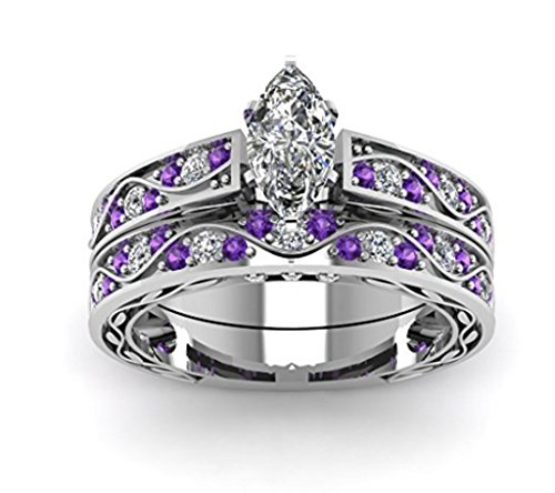 TVS-JEWELS Classy Wedding Ring Set White Marquise CZ & RD Cut Purple Amethyst Silver 925 Platinum Plated (11) by TVS-JEWELS