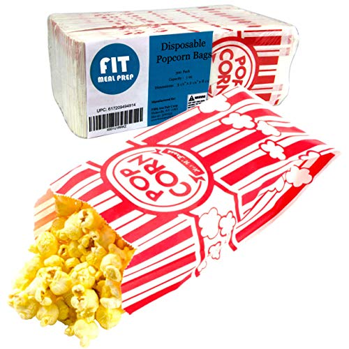[300 Pack] 1 oz Popcorn Bags - Disposable Popcorn Containers Paper Popcorn Boxes Flat Bottom Striped Red and White - Perfect for Movie Night, Concessions, Carnival Party Circus ()
