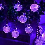 Solalight 30LED 6M Solar Balls String Light Outdoor Waterproof LED lights Decorative for Christmas / Garden / Home - Festive Bubble Lighting - Purple