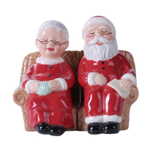 4.75 inches Mr. and Mrs Claus Christmas Magnetic Salt and Pepper Shaker Kitchen Set (Mrs Claus Christmas)