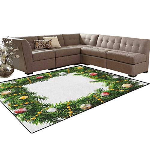 - Christmas,Rug,Square Wreath with Beads and Balls in Winter Season Holiday Celebration Print,Oriental Floor and Carpets,Multicolor Size:5'x6'