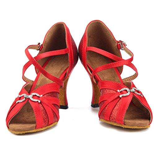 Meijili Womens Satin Glitter Sequins Latin Salsa Tango Ballrom Dance Shoes Peep Toe High Heel Wedding Evening Shoes Sandals Red PRk6M