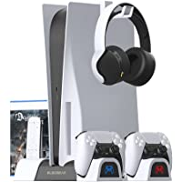 ElecGear PS5 Multifunctional Cooling and Charging Stand, DualSense Charger Dock with Cooling Fan, Vertical Storage…