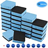 EAONE 24 Pack Magnetic Whiteboard Dry Eraser Square Shape with 8Pcs Whiteboard Magnets, Chalkboard Cleaner Board Wiper Erase Pens and Markers for Classroom Home Office, Blue