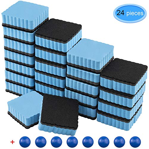 EAONE 24 Pack Magnetic Whiteboard Dry Eraser Square Shape with 8Pcs Whiteboard Magnets, Chalkboard Cleaner Board Wiper Erase Pens and Markers for Classroom Home Office, Blue - Dry Squares Erase