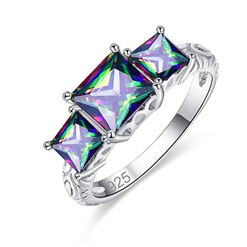 Veunora 925 Sterling Silver 7x7mm Princess Cut Rainbow Topaz Filled 3-Stone Ring for Women Size 9 ()