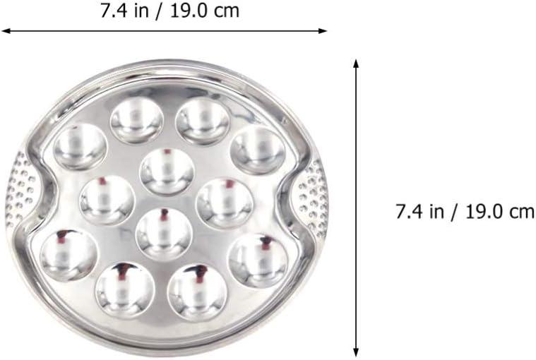 Cabilock 2pcs Snail Escargot Plate Stainless Steel Snail Plate 12 Holes Escargot Dish Plate