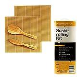 BambooWorx- Sushi Making Kit, 2 sushi rolling mats, (Green + Natural) 1 rice paddle, 1 rice spreader, sushi rolling kit, all Natural bamboo sushi mats and utensils