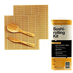 BambooWorx SUSHI MAKING KIT Includes 2 Sushi Rolling Mats, Rice Paddle, and a Rice Spreader. The ultimate sushi making set for all:  From the beginner who is just about starting the sushi journey to the world class professional sushi chef cre...