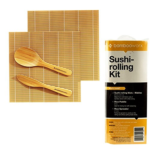 Bamboo Sushi Mat (BambooWorx Sushi Making Kit – Includes 2 Sushi Rolling Mats, Rice Paddle, Rice Spreader |100% Bamboo Sushi Mats and Utensils.)