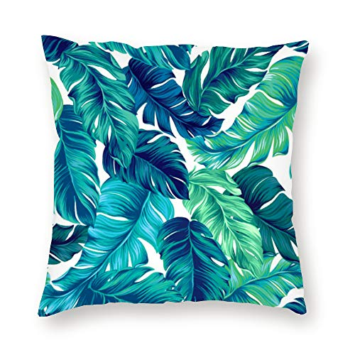 QoGoer Velvet Tropical Throw Pillow Covers - Tropical Palm Leaves Summer Decorative Square Pillow Case Soft Cushion Covers for Couch Sofa Bedroom Car, 18 x 18 Inch, Turquoise Green (Throws Tropical)