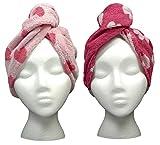 Turbie Twist Cotton Super Absorbent Hair Towel (2 Pack) Pink Hearts
