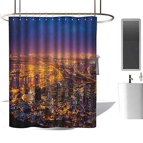 Shower Curtains Trendy City,Cape Town Panorama at Dawn South Africa Coastline Roads -