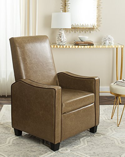 Safavieh Home Collection Holden Tan and Brown Recliner Chair, Buttercream