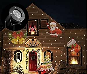 LUCKY CLOVER-A LED Xmas Landscape Projector,Snowflake Lamp Waterproof Spotlight Moving Lighting Outdoor Indoor Halloween Garden Holiday Home Yard Wall Party Wedding Decoration, B