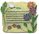 BANBERRY DESIGNS Decorative Garden Rock – Colorful Metal Flowers and Butterflies with Engraved Saying