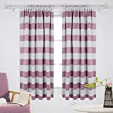 Kids Curtains Deconovo Nautical Blackout Curtains Rod Pocket Blackout Window Curtains for Kids Room 52W X 63L with Wave Stripe Pattern Light Lilac 2 Drapes