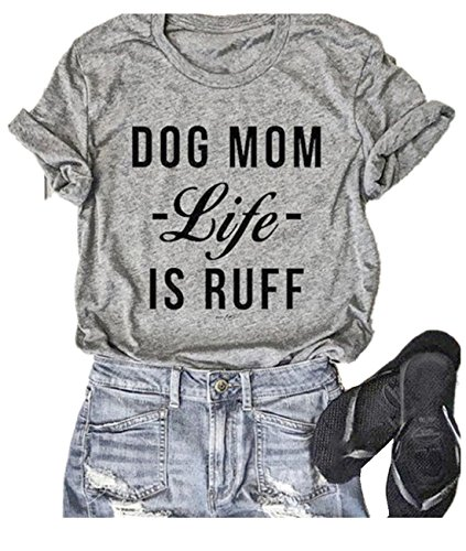 (QIANMEI Dog Mom Life is Ruff Letters Print T Shirt Top Cool Mom Tee Top Casual O-Neck Blouse (Small,)