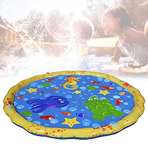 Longshow Water Spray Mat, Enhanced Durable PVC Inflatable Sprinkle Splash Play Mat Water Spray Toy Kids Pool Pad for Summer Fun Beach Outdoor Lawn Games ()