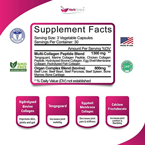 51Vd2F2VrAL - Multi Collagen Capsules (Protein Peptides) + Organ Complex Beef Liver, Heart, Kidney, Pancreas, Spleen Pills Type 1, 2, 3, 5 & 10 Bone Broth Powder for Anti-Aging Hair, Skin, Nails & Joint Supplement