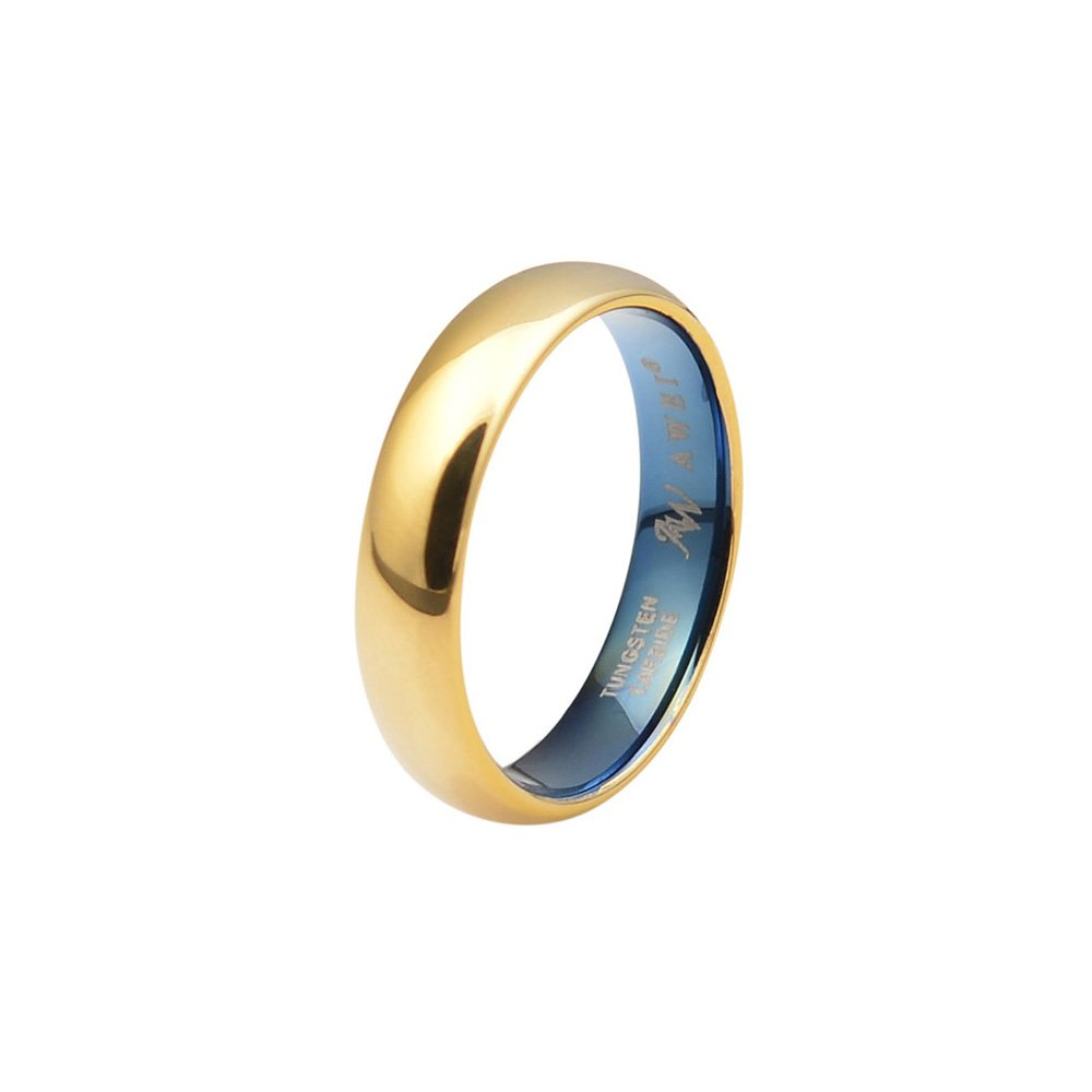 AWEI Comfort Fit Domed Tungsten Carbide Ring Classic Wedding Band Engagement Ring, Gold Color, 5mm Size 5-15