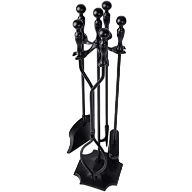 5 Pieces Fireplace Tools Tool Set Wrought Iron Fireset Firepit Fire Place Pit Poker Wood Stove Log Tongs Holder Tools Kit Sets with Handles Modern Black Fireplaces Hearth Decor Accessories