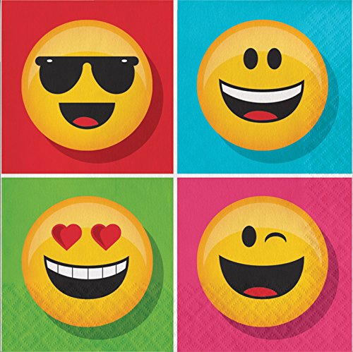Creative Converting 16 Count Paper Lunch Napkins, Show Your Emojions - Group Social Media Costumes