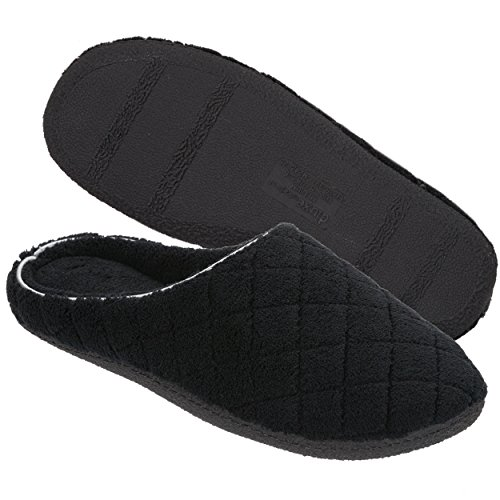 Dearfoams Women's Quilted Terry Clog Mule Slipper - Padded Terrycloth Slip-Ons with Skid-Resistant Rubber Outsole, Black, Small/5-6 M US
