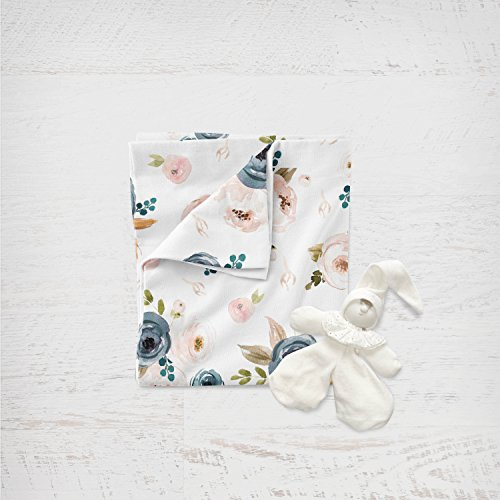 Blush and Blues Floral Swaddle by Hudson Swaddles & Bedding
