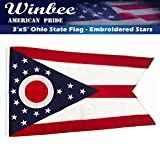 Ohio State Flag - Embroidered Stars and Sewn Stripes, Long Lasting Nylon Perfect for Outdoor Use, Sturdy Brass Grommets, UV Protected,Tough-Tex the Strongest US Flags Ohio