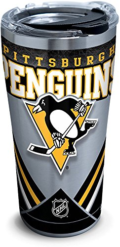 Tervis 1281285 NHL Pittsburgh Penguins Ice Stainless Steel Tumbler With Lid, 20 oz, Silver