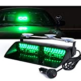 Xprite Emergency Dash Strobe Led Lights for Interior Car Roof, Dash, Windshield w/Suction Cups, 16 High Intensity LED Law Enforcement Hazard Warning Police Flashing Light - Green