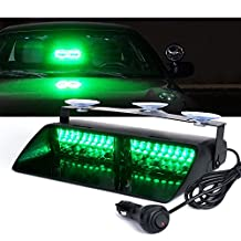 Xprite Emergency Dash Strobe Led Lights for Interior Car Roof, Dash, Windshield w/ Suction Cups, 16 High Intensity LED Law Enforcement Hazard Warning Police Flashing Light - Green