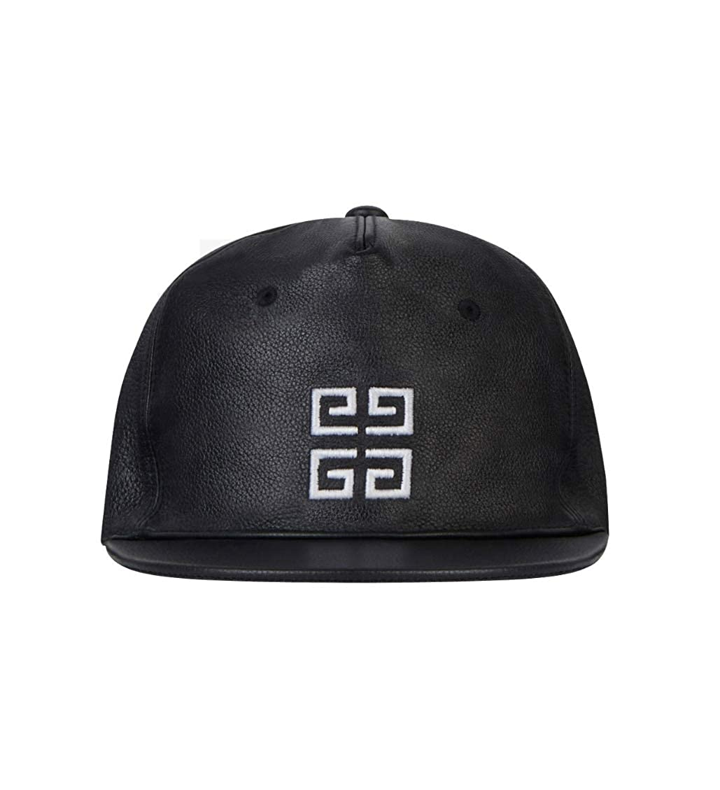 Givenchy Paris Leather Signature Logo Baseball Cap Hat Black Made in Italy   Amazon.co.uk  Clothing a5e7d466652