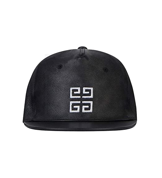 82feaa6f Givenchy Paris Leather Signature Logo Baseball Cap Hat Black Made in Italy:  Amazon.co.uk: Clothing