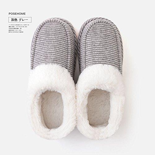Casa fankou par zapatillas de algodón interior femenina Baotou home engrosamiento antideslizante zapatillas impermeables de cuero pu invierno macho, macho: 41-42 metros [adecuado para 40-42 pies], paq