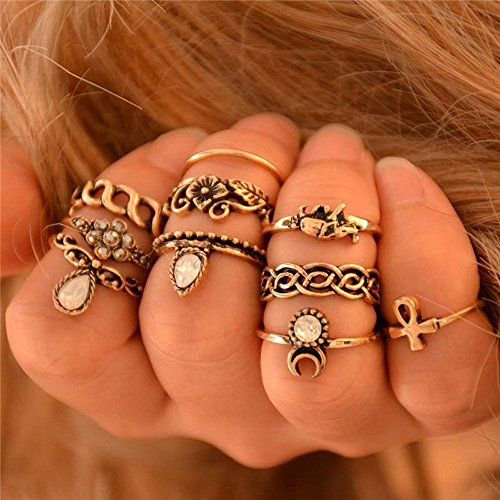 Wensltd Clearance! Fashion Retro 10Pcs/ Set Boho Fashion Arrow Moon Midi Finger Knuckle Rings (Moon Ring Jewelry)