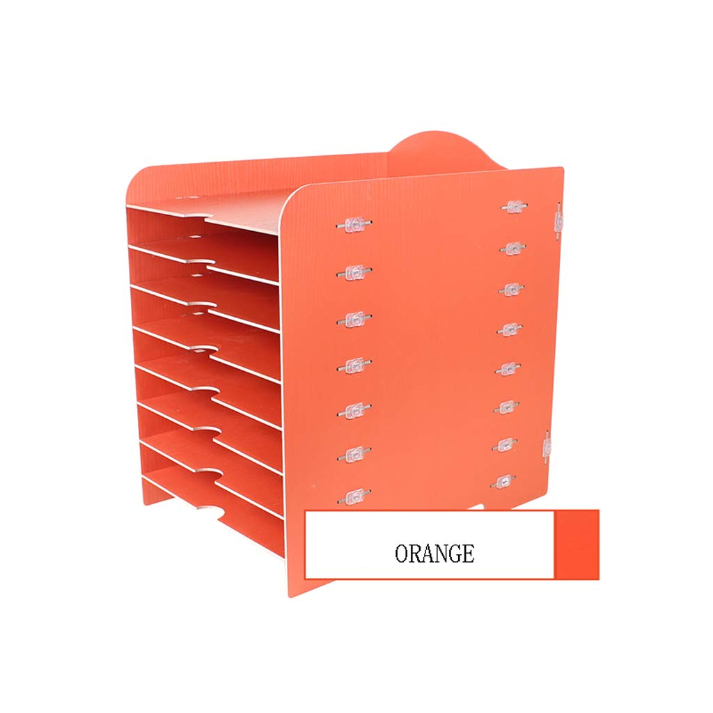 LCSHAN Desktop File Cabinet Creative Desk Surface Wooden Multi-Layer Document Data Cabinet Multi-Function Bill Holder (Color : Orange) by File Shelf