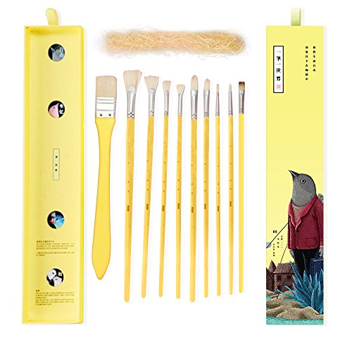 Miya Artist Paint Brushes Set for Acrylic Oil Watercolor Face & Body Gouache Painting with Hog Hairs,Nice Gift for Artist,Kids & Adults,10 Pcs(Yellow)